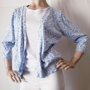 Cathy Daniels Blue Floral Cardigan w/Built In Top